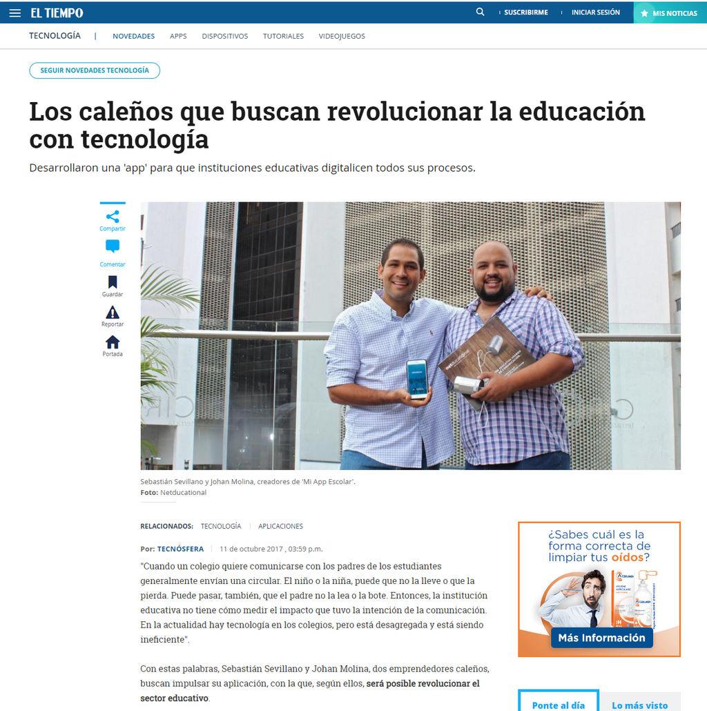 El Tiempo: Connecto App la revolución de la educación