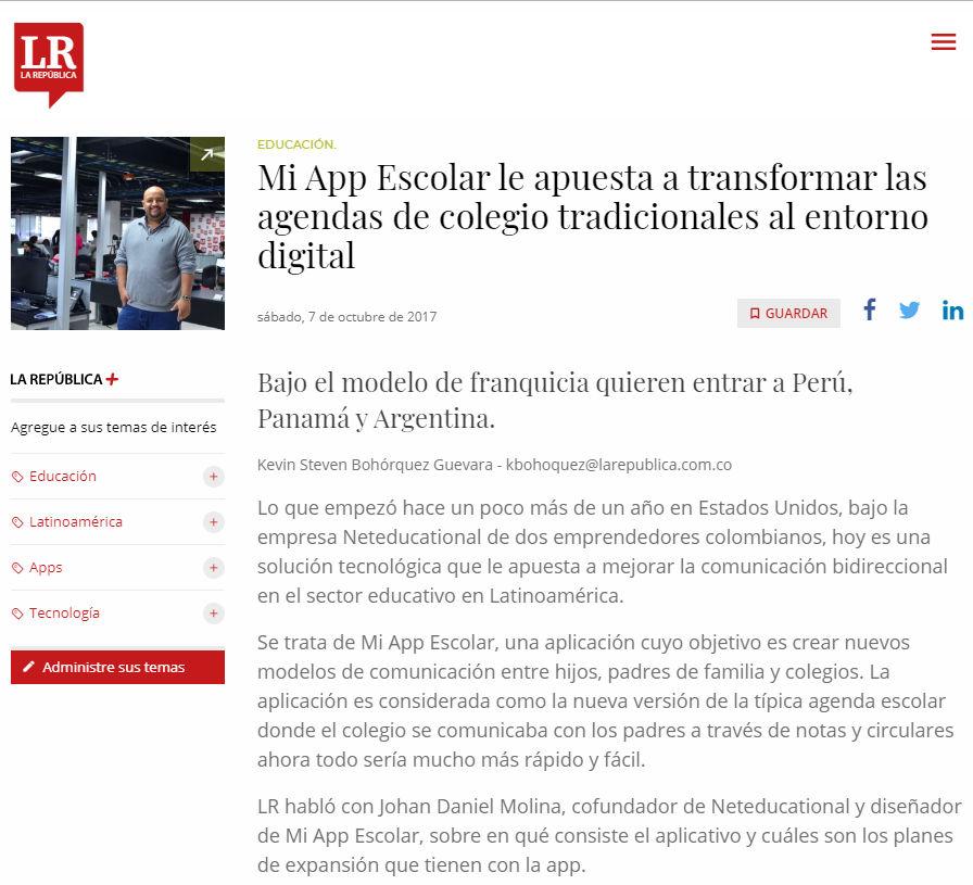 El diario La República : Netducational como protagonista en la transformación digital