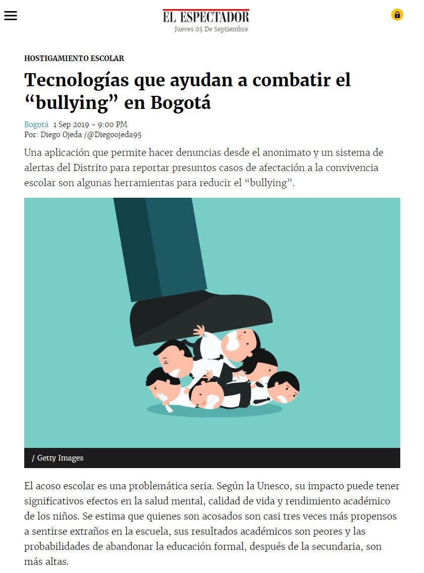 El Espectador informa sobre la aplicación móvil que combate el bulling en Bogotá